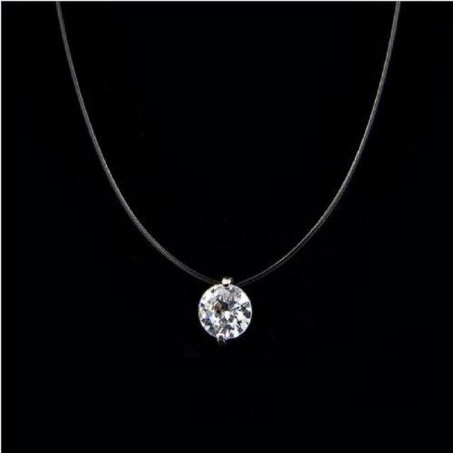 89419a626363 € 0.1 90% de DESCUENTO|Collar de línea de pesca transparente de moda para  mujer collar de cadena Invisible de plata collar de gargantilla de ...