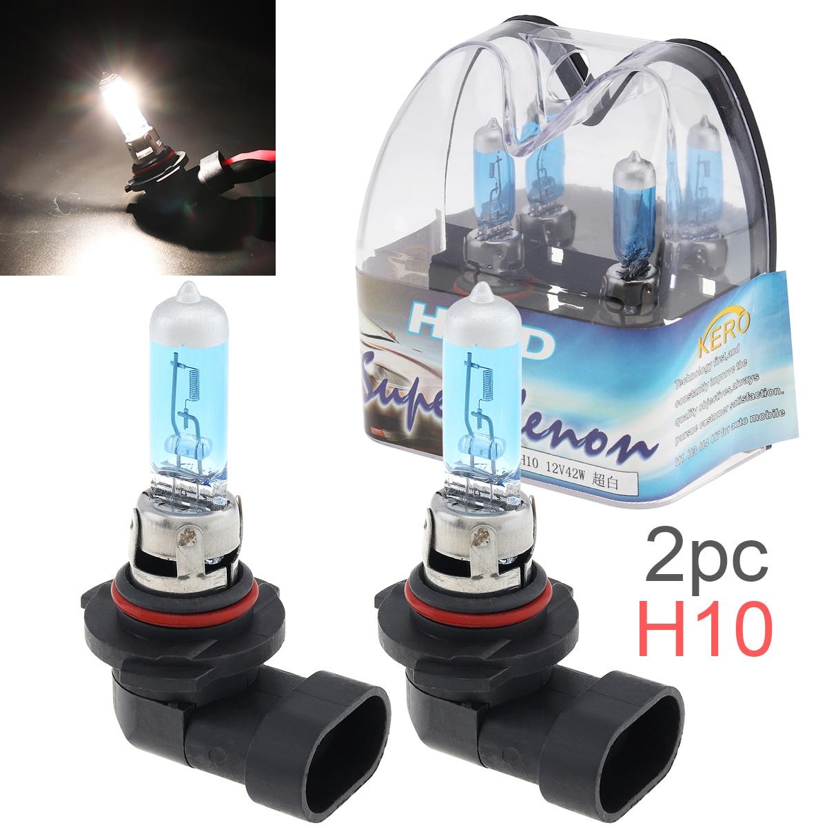 2pcs 12V H10 42W 6000K White Light Super Bright Car Xenon Halogen Lamp Auto Front Headlight Fog Bulb