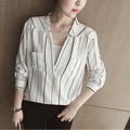 New Casual Women Striped Sexy V-Neck Blouse Spring Autumn Long Sleeve Blusa Fashion Pockets Office Wear OL Shirt Tops