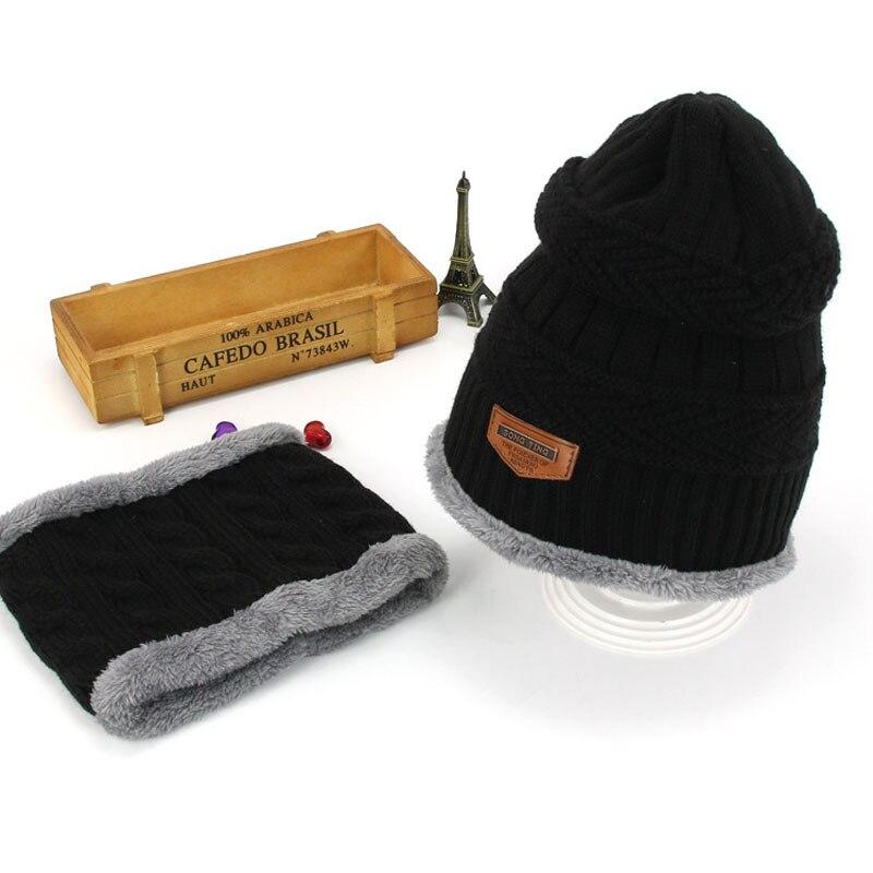 Комплект шапочки унисекс для детей и взрослых, детский толстый вязаный вельветовый головной убор и шарф, зимний теплый костюм, шапка и шарф, MZ5356 - Цвет: Черный