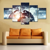 Modern Technology Abstract Poster Art Print Wall Art Canvas Painting for Office Room Wall Decor Network Link Picture Art Custom