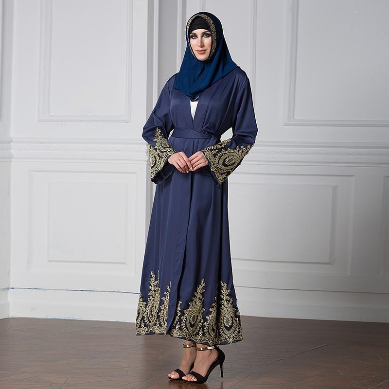 Vitiana 2017 Womens Long Islam Muslim Robe Dress Long Sleeve Loose Vintage Clothing Islamic