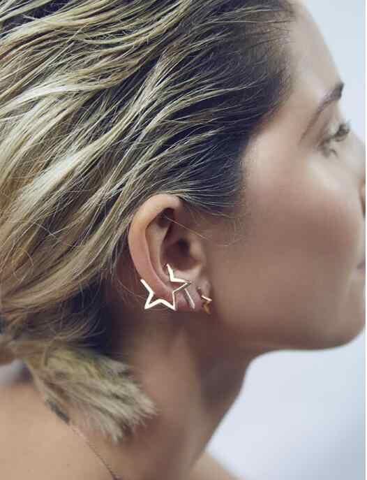 Baru Fashion Telinga Desain Klip Sederhana Segitiga Lima Menunjuk Bintang Anting-Anting Klip Tanpa Perforasi 2019 Hot Clip-On anting-Anting Tidak Ada