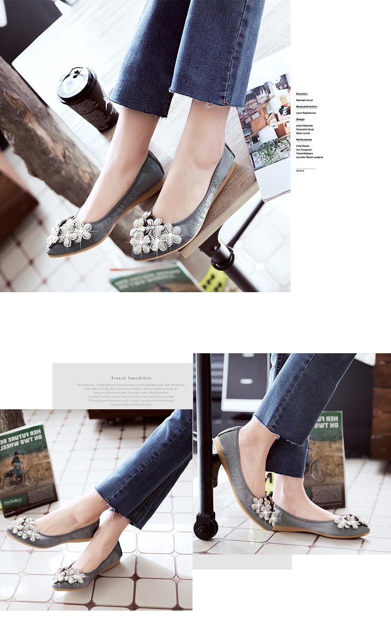 COSMAGIC 2018 New Women Silk Flower Rhinestone Flats Shoe Green Pink Slip  on Fashion Pointed Toe Bling Folding Shoe Plus SizeUSD 17.23 pair 21ba09b407f2