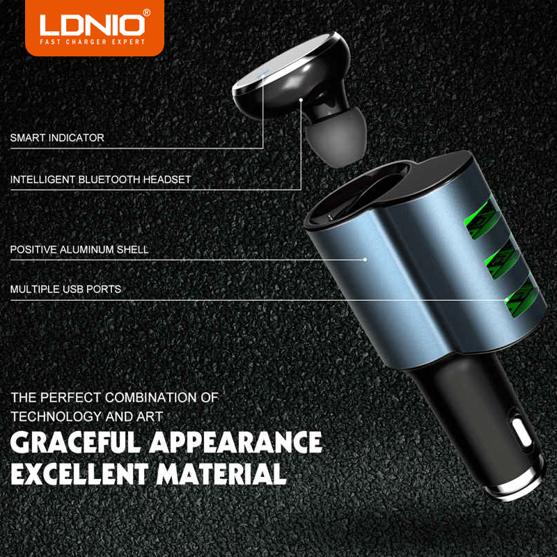 LDNIO 3 Ports Black USB Car Charger 5V 4.2A Mobile Phone Charger for iPhone Samsung Galaxy Xiaomi Redmi