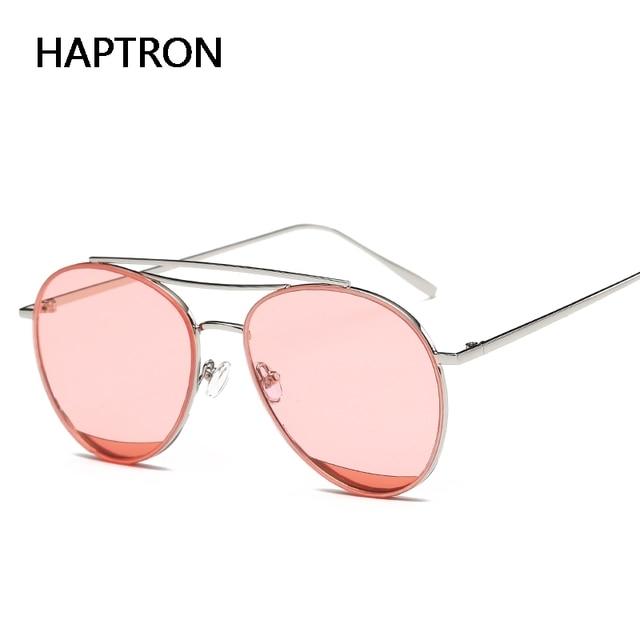 c639e1a172 Haptron Aleación de gafas de sol redonda mujeres claro gafas de sol marca  diseñador rosa amarillo