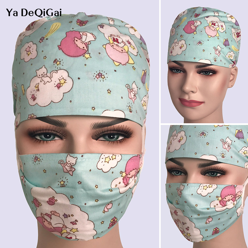 Cotton Breathable Printing Suitable For Pet Hospital Work Hat Unisex Surgical Cap Doctor Nurse Cap Beauty Cap Beautiful Cute Hat