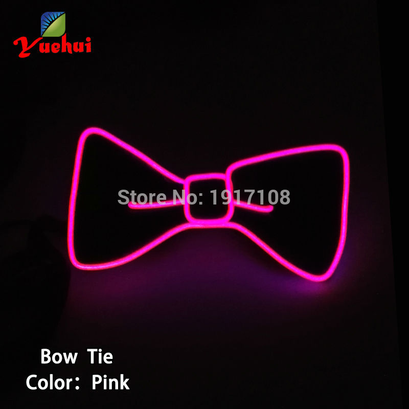 Newstyle Bright lighting 10 colors EL wire Bow Tie Party Gift For Evening Party Decoration,Valentine,christmas ,DJ,bar,club