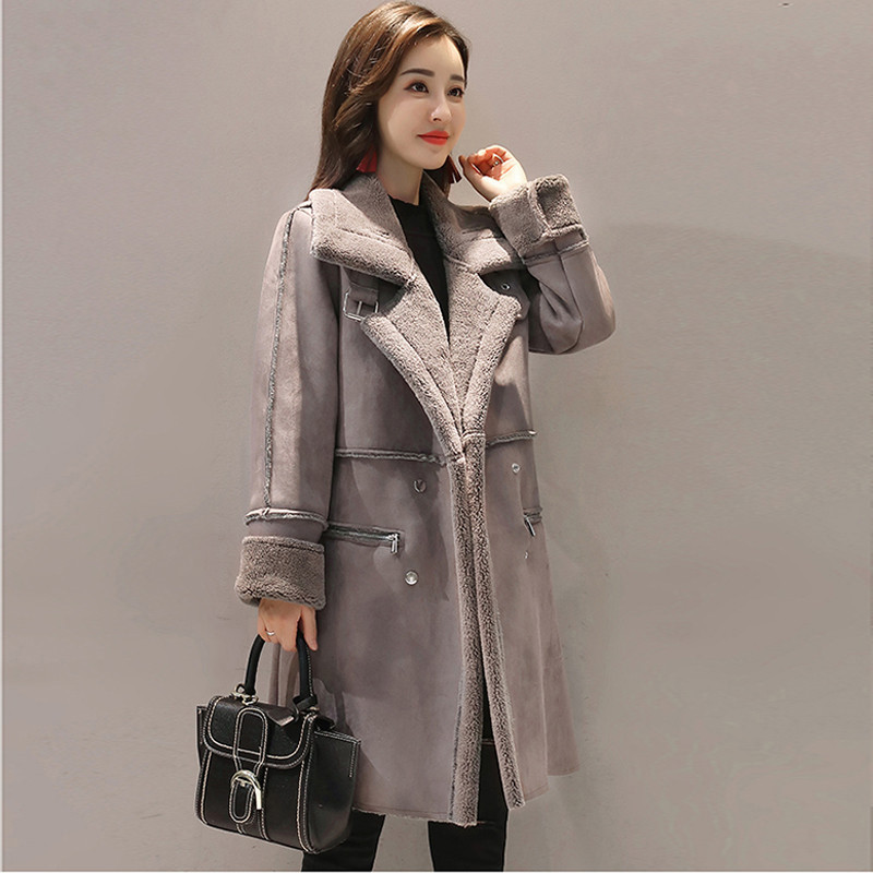 New 2019 Winter Women Lambswool Suede Coats Thicken Plus Size 4XL Female Casual Warm Long Sleeve   Parka   Jacket Long Overcoat V185