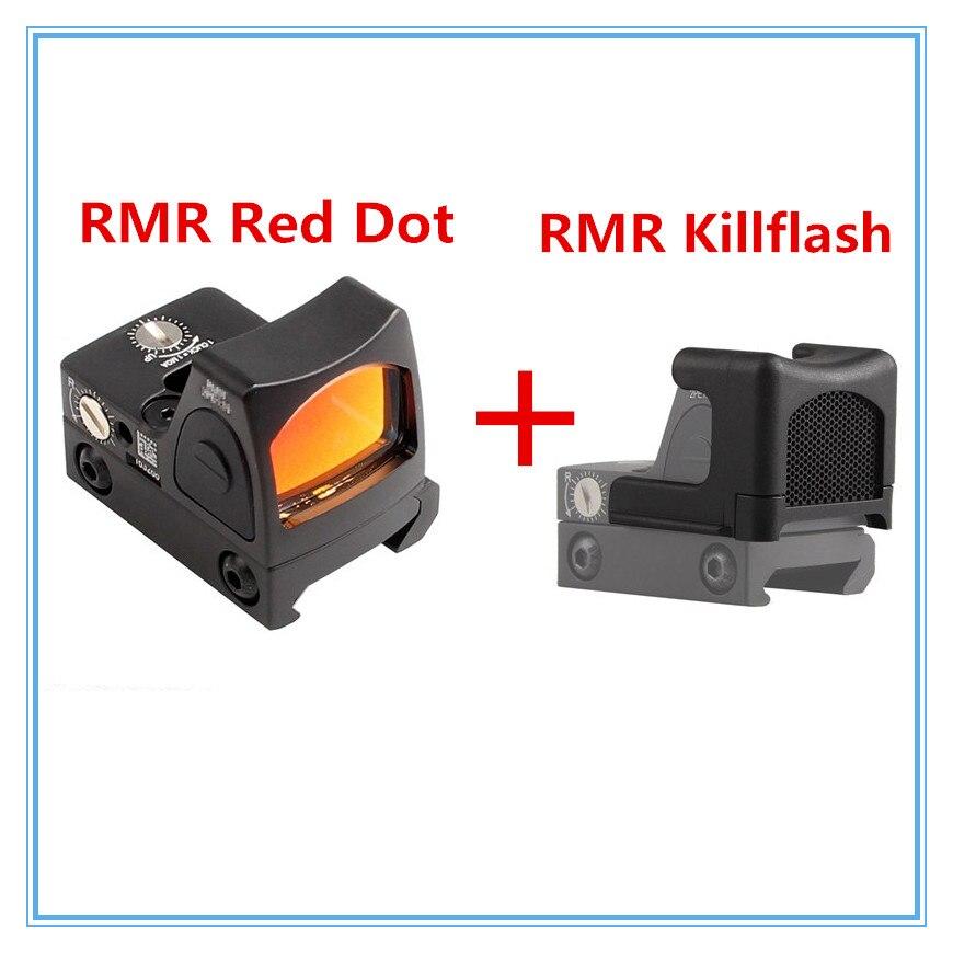 Mini Mira Reflex RMR Red Dot Visão laser Colimador Glock e matar Flash fit 20mm Weaver Rail Para Airsoft Rifle de Caça 5-4-2 + 37-32