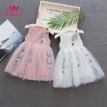 MUQGEW Fashion Newborn Toddler Baby Girls Sleeveless Solid Tulle Mesh Floral Party Wedding Princess Dresses lovely Vestidos 2019