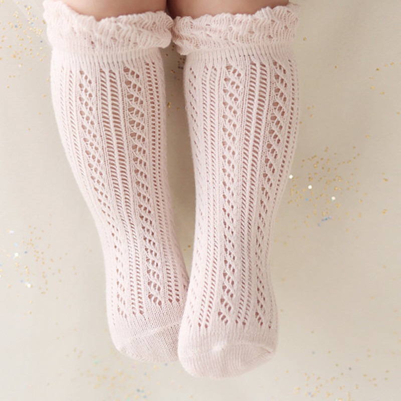 Sweet Newborn Baby Girl Socks Cotton Summer Infant Baby Knee High Socks for 0-4 Years White/Pink 1 Pair sweet years sy 6128l 21