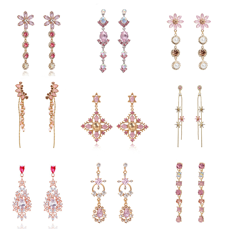Korean New Trendy Shiny Pink Crystal Dangle Drop Earrings Women Girl Charming Rhinestone Earrings Collection for Vacation Gift