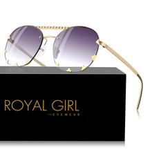 3e5ec99faa8b21 ROYAL FILLE Vintage Rivet lunettes de Soleil Femmes 2018 Date Moderne De Mode  Lunettes de Soleil Femme Homme Double Pont Oculos .