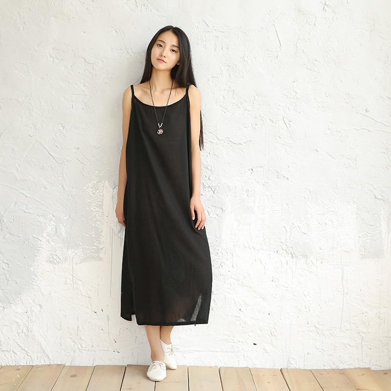 Solid Black Spaghetti strap Sleeveless Women Long Dress Loose Casual Sexy Summer Dress Japan Brief style Kawaii Cute Dress C030