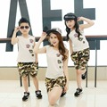 Family Set Sleeveless T-shirt+Camouflage Shorts Clothes for Mother Daughter Family Clothes Children Clothing Sets, DR66