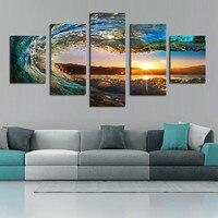 5 Panels No Frames Ocean Wave Sunrise Seascape Landscape Canvas Print Wall Art Panel Sets For