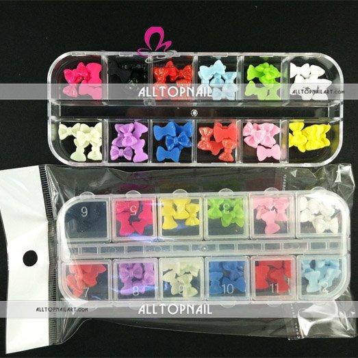 Акриловые Nail Art Блеск Bowties 12 цветов украшения для ногтей 60 шт. в коробке 100 компл./лот