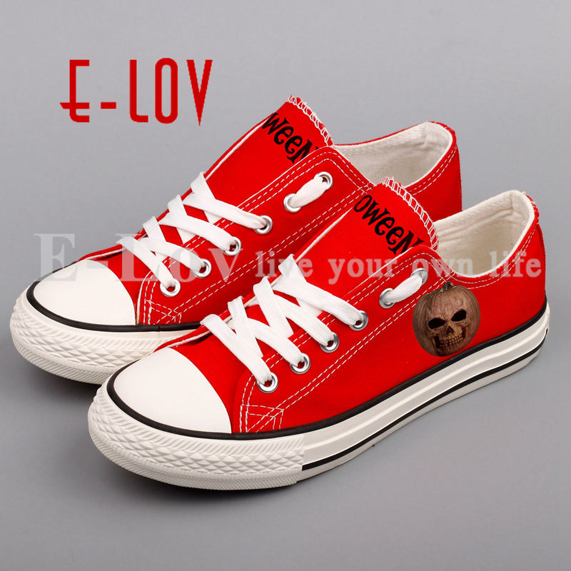 E-LOV New Arrival Christmas Halloween Party Canvas Shoes Printed Pumpkins Witches Casual Shoes Customized For Lovers Gifts e lov women casual walking shoes graffiti aries horoscope canvas shoe low top flat oxford shoes for couples lovers