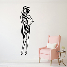 Beautiful Fashion Model Wall Sticker Slim Figure Vinyl Decal Beauty Salon Decor Lady Art Murals AY1631