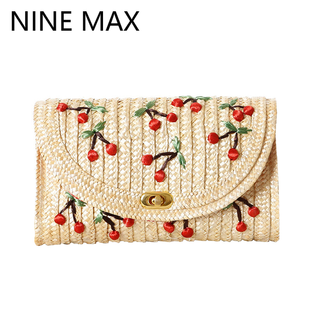 Handmade Natural Straw Weave Cherry Embroidery Totes Quality