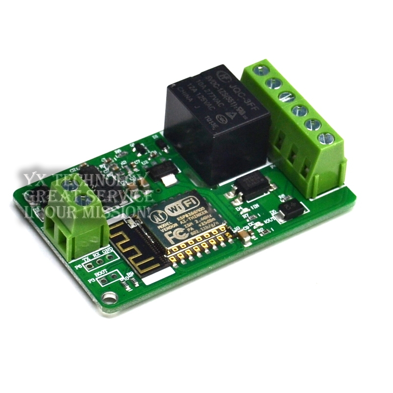 New Arrival 1Pcs Green ESP8266 10A 220V Network Relay WIFI Module Input DC 7V~30V 65x40x18mm Modules