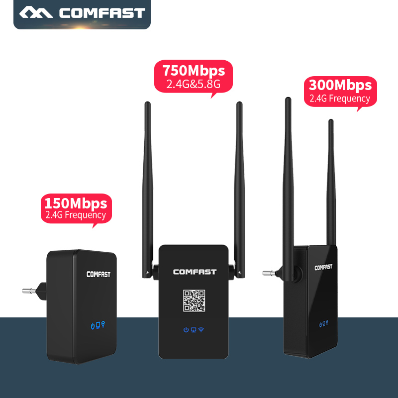 Wireless Wifi Repeater 150M 300Mbps 750Mbps Comfast Dual Band 2.45G Range Expander Signal Booster Extender Router CF-WR750AC V2