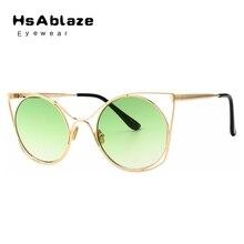HsAblaze Eyewear Nuevo Ahueca Hacia Fuera Las Mujeres Del Ojo de Gato gafas de Sol de Diseñador de la Marca Luneta UV400 Shades Lente Transparente Gafas De Sol Mujer
