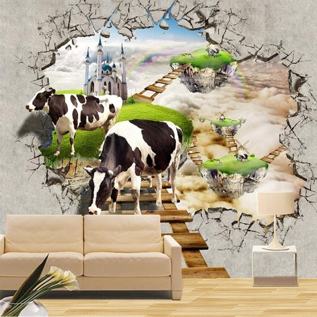 Merveilleux Photo Wallpaper 3D Stereo Cow Broken Wall Mural Modern Creative Kids Bedroom  Living Room Backdrop Wall