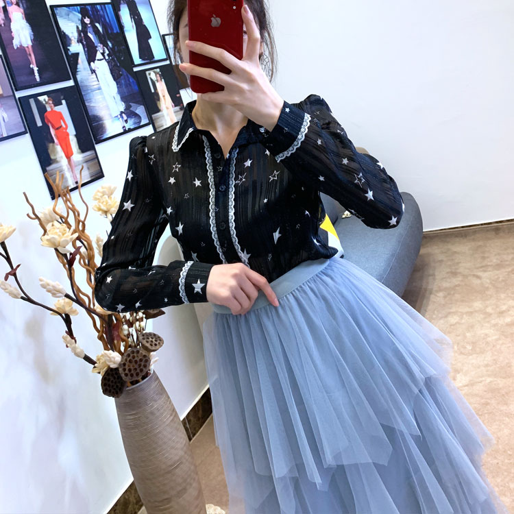 Women irregular Tulle Skirts Fashion Elastic High Waist Mesh Tutu Skirt Pleated Long Skirts Midi Skirt Saias Faldas Jupe Femmle 32