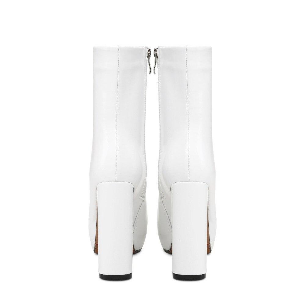 Bourgogne Mode Hauts Arden forme 2018 Plate De white Rond Furtado Talons Black 11 mollet Chaussures Blanc Cm Automne Hiver Zipper burgundy Bottes Mi Printemps w08nkXPO