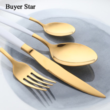 Buyer Star 16-Piece Stylish Flatware White Handle and Gold Stainless Steel Cutlery Sets Service For 4 Including Fork Spoon Knife