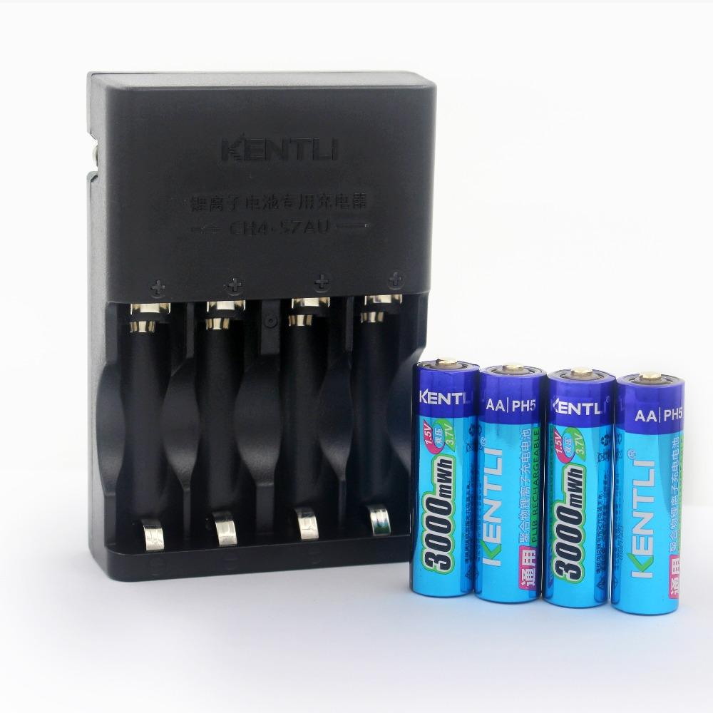Prix pour 4 pcs KENTLI 1.5 v AA PH5 3000mWh PLIB Rechargeable Li-ion Li-polymère batterie Au Lithium + 4 Ports AA AAA Chargeur Intelligent CH4-57AU
