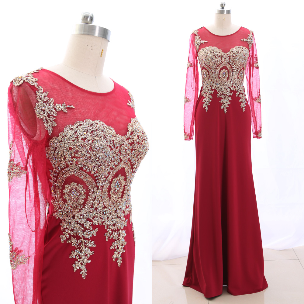 MACloth Red 0 Scoop Neck Floor-Length Long Embroidery Jersey   Prom     Dresses     Dress   XXL 265551 Clearance