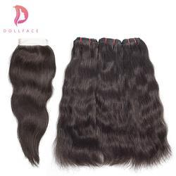 Dollface сырье индийского пучки волос с закрытием естественный Прямые локоны Связки с закрытием волос Бесплатная доставка
