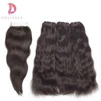 Dollface Raw Indian Hair Bundles with Closure Natural Straight Virgin Hair Bundles with Closure Hair Extension Free Shipping