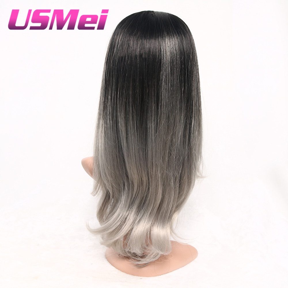 USMEI Ombre Two tone Synthetic Black Grey pink Wigs Long silky straight Heat Resistant Silver Wig For Women African American