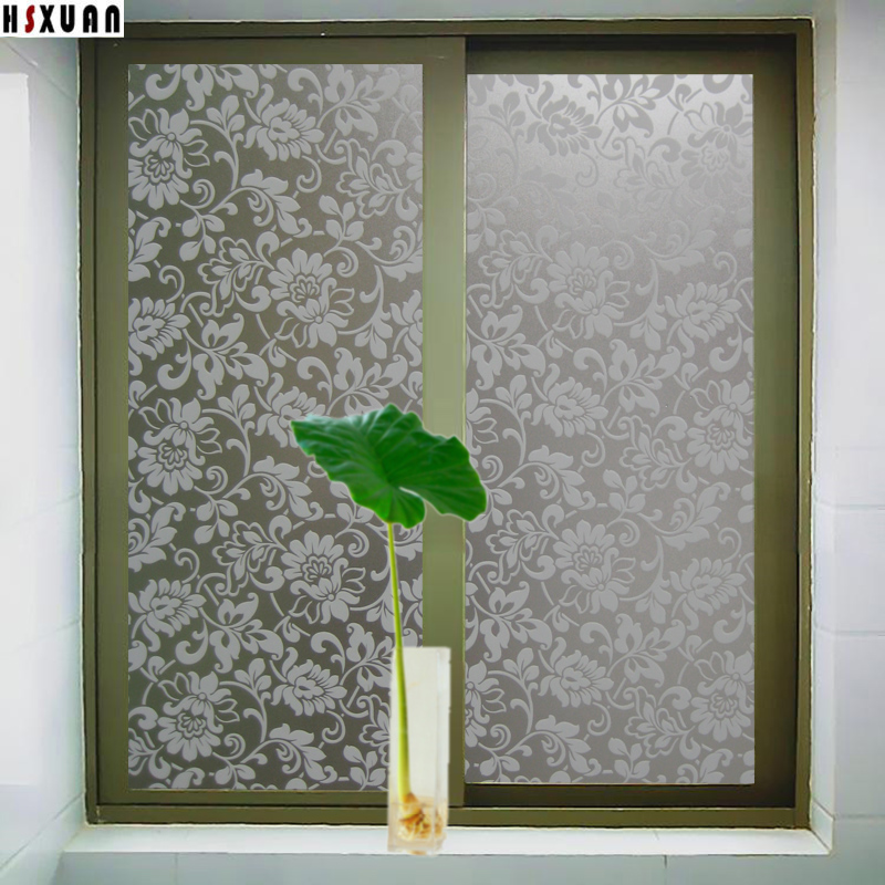 bathroom window film 45 50cmX100cm flower decorative Sunscreen privacy film waterproof glass stickers Hsxuan brand. Popular Window Film Bathroom Buy Cheap Window Film Bathroom lots