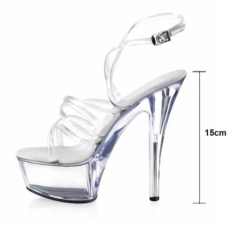 15 Modèle Femme Terrasse Marche De Plate À Cristal Hauts Haute Talons D'été Transparent chaussures forme Cm Ws1760 Chaussures Super Femmes Sandales vrvq1nfF