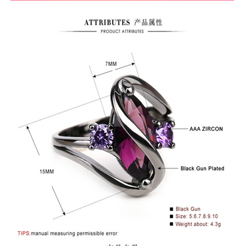 Purple crystal colorful ring 3