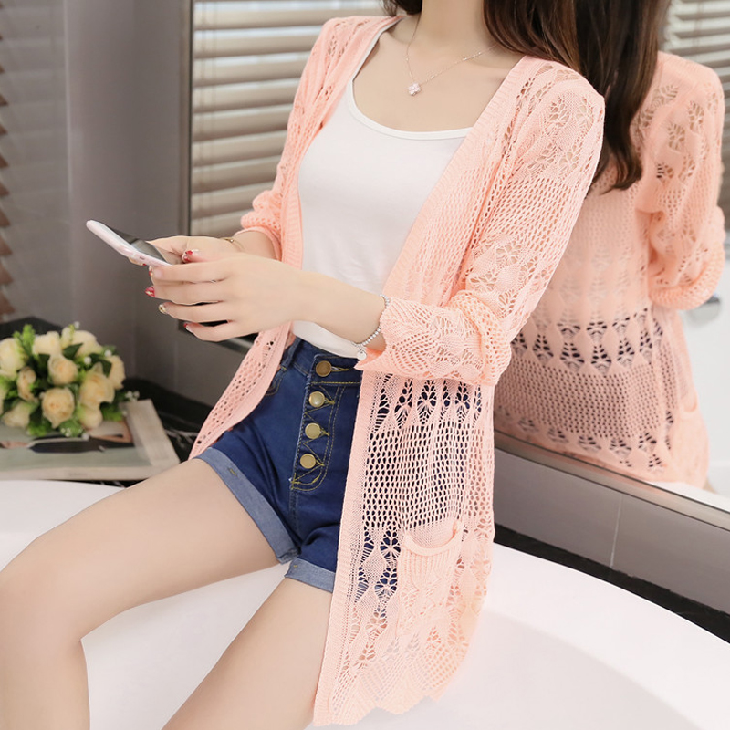 Thin Knit Cardigan Sweater Female 2017 New Spring Jacket In The Long Section Of A Hollow Loose Shawl In Summer