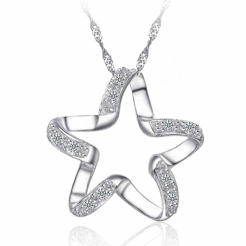 New Arrival 925 Sterling Silver Chic Pendant Necklace Girls Wedding Accessories Women Funny Lucky Star Shape Jewelry