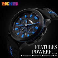 SKMEI Men Quartz Watches Fashion Casual Silicone Strap Wristwatches Water Resistant Stopwatch Complete Calendar Casual Watches skmei fashion casual quartz women watches leather strap luxury brand ladies watches flower dials 30m water resistant reloj mujer