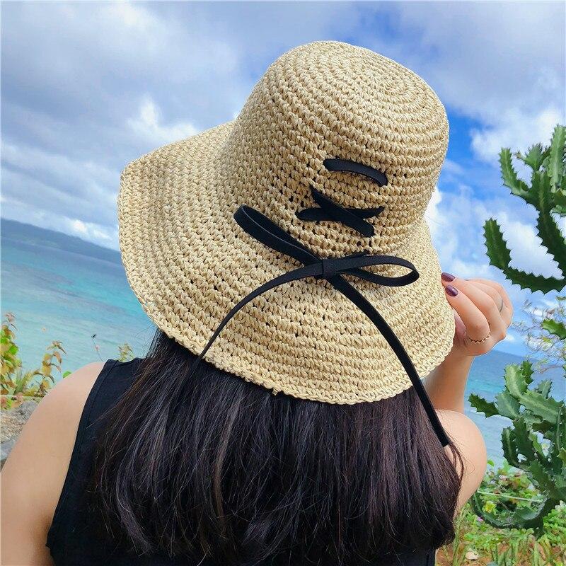 2018 Sommer Frauen Floppy Stroh Eimer Hut Mit Bowknot Kreuz Straps Angeln Hüte Strand Sonnenschutz Kappen Seien Sie In Geldangelegenheiten Schlau Kopfbedeckungen Für Damen