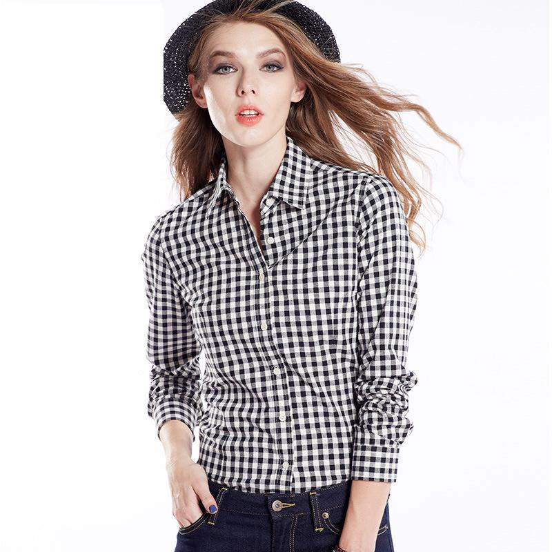 Womens Black And White Checkered Shirt