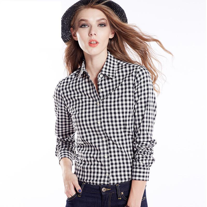 Ladies Checked Shirts Women' Slim