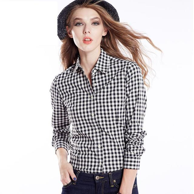 57b2d41db7f Ladies Checked Shirts Women s Slim Fit Black White Plaid Shirt Female Long  Sleeve Red Blue Checked