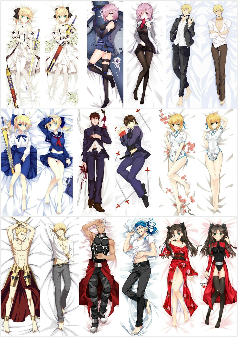 Fate Stay Night Saber Anime Dakimakura Hugging Body Pillow Case Cover Pillowcase