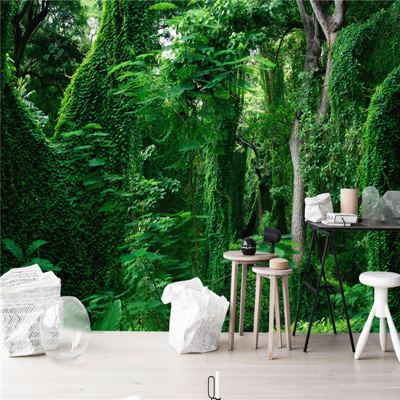 Custom Photo 3D Wallpapers Nature Forest Landscape Murals Green Trees Wall Papers Walls 3D for Living Room Background Home Decor shinehome european roman pillar angel soft roll wallpaper for 3d rooms walls wallpapers for 3 d living room wall paper murals