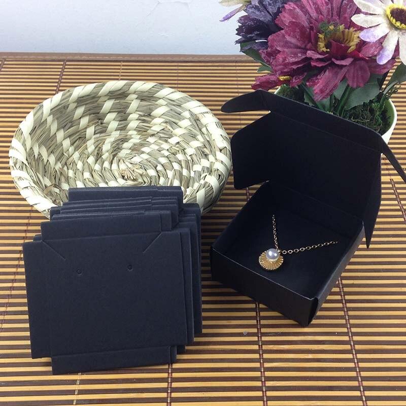 1Lot =100 Box +100 Pcs Inner  Card 65x65x30mm White/Black/Kraft  Necklace  /Earring  BOX BOXEarring /Necklace /Ring /Jewelry Set